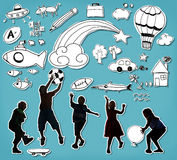 Παιδιά που παίζουν την εύθυμη έννοια παιδικής ηλικίας ευτυχίας ελεύθερη απεικόνιση δικαιώματος