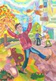 Παιδιά που παίζουν τη διασκέδαση υπαίθρια το φθινόπωρο υψηλό watercolor ποιοτικής ανίχνευσης ζωγραφικής διορθώσεων πλίθας photosh Στοκ φωτογραφίες με δικαίωμα ελεύθερης χρήσης