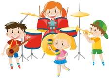 Παιδιά που παίζουν τη μουσική στη ζώνη διανυσματική απεικόνιση