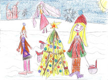 Παιδιά που παίζουν το χειμώνα, γύρος ελκήθρων Στοκ φωτογραφία με δικαίωμα ελεύθερης χρήσης