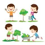 Παιδιά που συμμετέχουν στην κηπουρική ελεύθερη απεικόνιση δικαιώματος