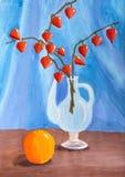 Παιδιά που σύρουν ακόμα τη ζωή με το πορτοκάλι και τον κλάδο Physalis Στοκ εικόνες με δικαίωμα ελεύθερης χρήσης