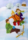 Παιδιά που σύρουν να κάνει σκι ` ` Στοκ φωτογραφία με δικαίωμα ελεύθερης χρήσης