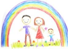 Παιδιά που σύρουν την ευτυχή οικογένεια Στοκ Εικόνες
