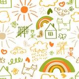Παιδιά που σύρουν το άνευ ραφής σχέδιο Στοκ Εικόνες