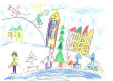 παιδιά που σύρουν το βουνό σπιτιών Παιδιά που παίζουν το χειμώνα Στοκ Φωτογραφίες