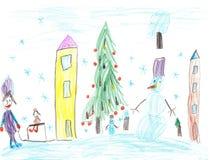 παιδιά που σύρουν το βουνό σπιτιών Παιδιά που παίζουν το χειμώνα Στοκ φωτογραφίες με δικαίωμα ελεύθερης χρήσης