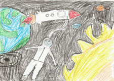 Παιδιά που σύρουν το διαστημικό πύραυλο πλανητών Στοκ εικόνα με δικαίωμα ελεύθερης χρήσης