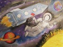 Παιδιά που σύρουν το διαστημικό πύραυλο πλανητών Στοκ Εικόνες