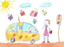Παιδιά που σύρουν το ταξίδι αυτοκινήτων Στοκ εικόνες με δικαίωμα ελεύθερης χρήσης