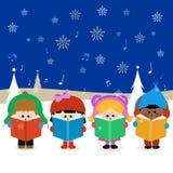 Παιδιά που τραγουδούν τα κάλαντα Χριστουγέννων Στοκ Εικόνα