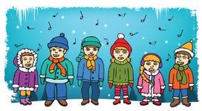 Παιδιά που τραγουδούν τα κάλαντα Στοκ φωτογραφία με δικαίωμα ελεύθερης χρήσης