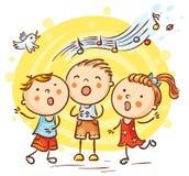 Παιδιά που τραγουδούν τα τραγούδια, ζωηρόχρωμα κινούμενα σχέδια Στοκ φωτογραφία με δικαίωμα ελεύθερης χρήσης
