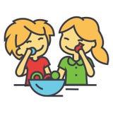Παιδιά που τρώνε την έννοια καραμελών ελεύθερη απεικόνιση δικαιώματος