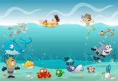 Παιδιά που φορούν το κοστούμι κατάδυσης σκαφάνδρων και που κολυμπούν με τα ψάρια κάτω από τη θάλασσα απεικόνιση αποθεμάτων