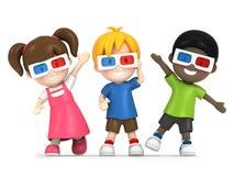 Παιδιά που φορούν το τρισδιάστατο γυαλί Στοκ Εικόνες