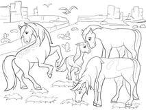 Παιδιά που χρωματίζουν τα άλογα κινούμενων σχεδίων που βόσκουν στο διάνυσμα λιβαδιών Στοκ Εικόνες