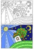 Παιδιά που χρωματίζουν την απεικόνιση Διανυσματική απεικόνιση