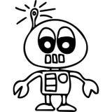 Παιδιά ρομπότ που χρωματίζουν τη σελίδα ελεύθερη απεικόνιση δικαιώματος