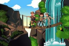 Παιδιά σε ένα ταξίδι περιπέτειας διανυσματική απεικόνιση