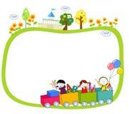 Παιδιά σε ένα τραίνο και ένα πλαίσιο απεικόνιση αποθεμάτων