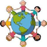 Παιδιά σε όλο τον κόσμο - Ευρώπη & Αφρική Στοκ Εικόνες