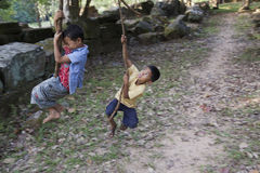 Παιδιά σε Angor Wat Στοκ Φωτογραφίες