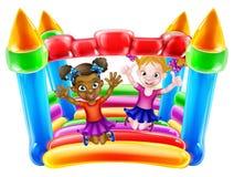 Παιδιά σε Bouncy Castle διανυσματική απεικόνιση