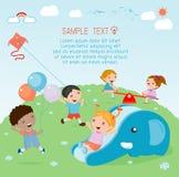 Παιδιά στην παιδική χαρά, χρόνος παιδιών Στοκ φωτογραφία με δικαίωμα ελεύθερης χρήσης