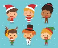 Παιδιά στο θέμα Χριστουγέννων Στοκ Εικόνες
