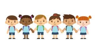 Παιδιά σχολείου κινούμενων σχεδίων Στοκ Φωτογραφίες