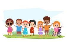 Παιδιά των διαφορετικών ανικανοτήτων και υγιή παιδιά που θέτουν, Απεικόνιση αποθεμάτων