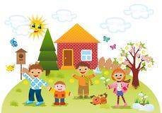 Παιδιά υπαίθρια την άνοιξη απεικόνιση αποθεμάτων