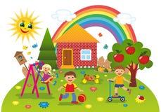 Παιδιά υπαίθρια το καλοκαίρι απεικόνιση αποθεμάτων