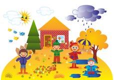 Παιδιά υπαίθρια το φθινόπωρο ελεύθερη απεικόνιση δικαιώματος