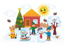 Παιδιά υπαίθρια το χειμώνα απεικόνιση αποθεμάτων