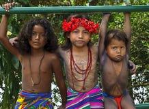 Παιδιά Embera, Παναμάς Στοκ Φωτογραφία