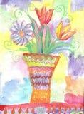 Παιδιά Watercolor που σύρουν τα λουλούδια Στοκ Εικόνες