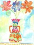 Παιδιά Watercolor που σύρουν τα λουλούδια Στοκ Φωτογραφίες