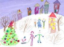 Παιδιά Watercolor που σύρουν το γύρο χειμερινών ελκήθρων Στοκ Εικόνες