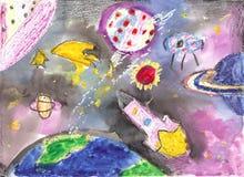 Παιδιά Watercolor που σύρουν το διαστημικό πύραυλο πλανητών Στοκ Φωτογραφίες