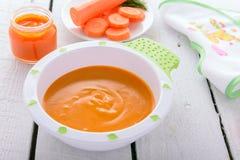 Παιδικές τροφές: οργανικός πουρές καρότων στοκ φωτογραφία με δικαίωμα ελεύθερης χρήσης