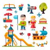 Παιδική χαρά παιδιών στο επίπεδο ύφος Στοκ Εικόνες