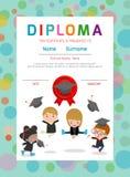 Παιδικός σταθμός πιστοποιητικών και στοιχειώδες, προσχολικό πρότυπο σχεδίου υποβάθρου πιστοποιητικών διπλωμάτων παιδιών Στοκ φωτογραφίες με δικαίωμα ελεύθερης χρήσης