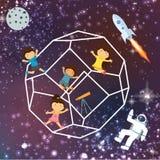 Παιδιών φαντασίας διαστημικά γαλαξιών astrounout πετώντας αστέρια ουρανού πυραύλων όμορφα Στοκ εικόνα με δικαίωμα ελεύθερης χρήσης