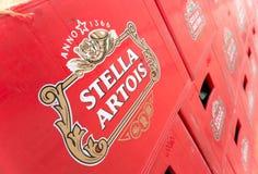 Πακέτα της εμφιαλωμένης μπύρας σε ένα μέρος αποθήκευσης Στοκ Εικόνα