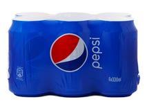 Πακέτο έξι δοχείων της Pepsi Στοκ Εικόνα