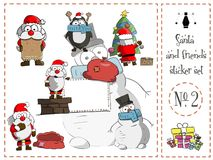 Πακέτο αυτοκόλλητων ετικεττών, Santa και φίλοι αριθμός 2 διάνυσμα Στοκ Φωτογραφίες