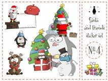 Πακέτο αυτοκόλλητων ετικεττών, Santa και φίλοι αριθμός 4 διάνυσμα απεικόνιση αποθεμάτων