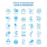 Πακέτο εικονιδίων αγάπης και γαμήλιου μπλε τόνου - 25 σύνολα εικονιδίων διανυσματική απεικόνιση
